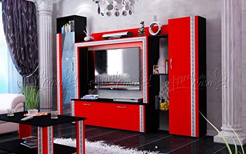 Arredodacasa.com Parete attrezzata Mobile Soggiorno Rosso Design Moderno Modello SU21