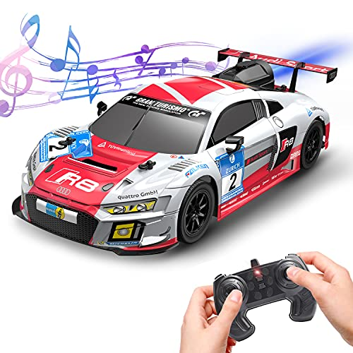 Remote Control Car, RC Cars for Adults, 1: 14 Officially Licensed Audi R8 LMS GT3, 80 Min Play 2.4Ghz Hobby RC Toy Car with Rear Fog Stream LED Lights Music Toy for Kids, CREATIVE DOUBLE STAR