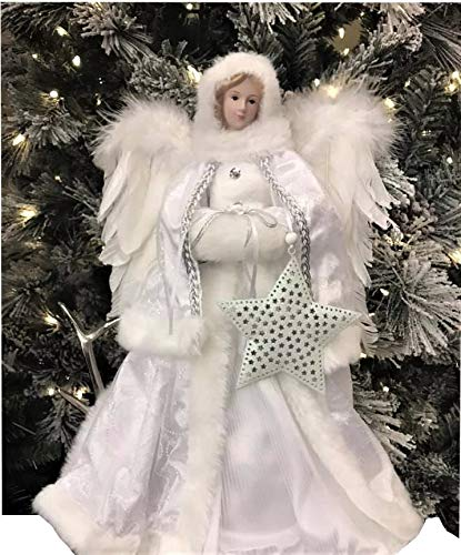 White Winter Angel Tree Topper Christmas Figure Decoration with Star Ornament Height 16 Inch