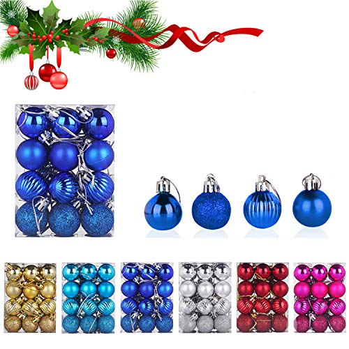 WELLXUNK Boules de Noël, 24 pièces Boule de Sapin, Boule de Noël en Plastique Incassable pour Boules de Noël Décorations Pendentifs de Boule de Couleur (Bleu)