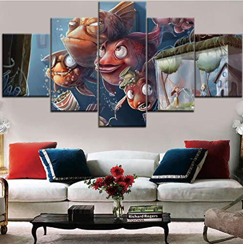 HD canvas muurkunst abstract cartoon anium vlies canvas afbeelding kunstwerk schilderij foto 5 stuks goudfish familie aquarium [40x60cmx2 40x80cmx2 40x100cmx1]Kein Rahmen Geen lijst