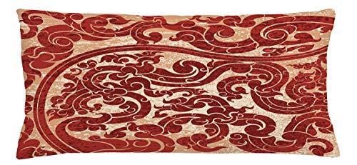 ABAKUHAUS Antiek Sierkussensloop, Vector Thaise cultuur, Decoratieve Vierkante Hoes voor Accent Kussen, 90 cm x 40 cm, Robijn