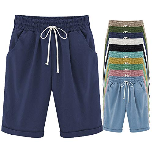 FABEILAI Women's Elastic-Waisted Bermuda Casual Shorts with Pockets #9800 DKBU 12/14