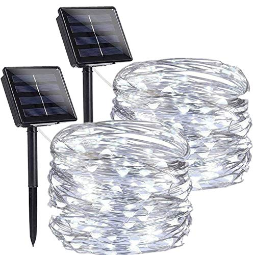 Chipark Solar String Lights, 2 Pack Solar Powered Fairy String Lights 100 LED 33ft 8 Modes Waterproof Outdoor Solar Garden Lights Silver Wire Lights for Party Wedding Patio Yard Bedroom (Cool White)