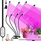 Awroutdoor 4 Heads Plant Grow Light with Remote Control, 80 LEDs Grow Lamp for Indoor Plants, 10 Dimming Level with Timer Full Spectrum Adjustable Gooseneck for Seedling Growing Blooming Fruiting