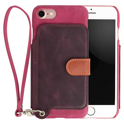 <iPhone8 iPhone7> RAKUNI (ラクニ) 本革 背面フリップケース(ラズベリー)財布いらず/便利な前面むきだし/ストラップ付き/スタンド機能