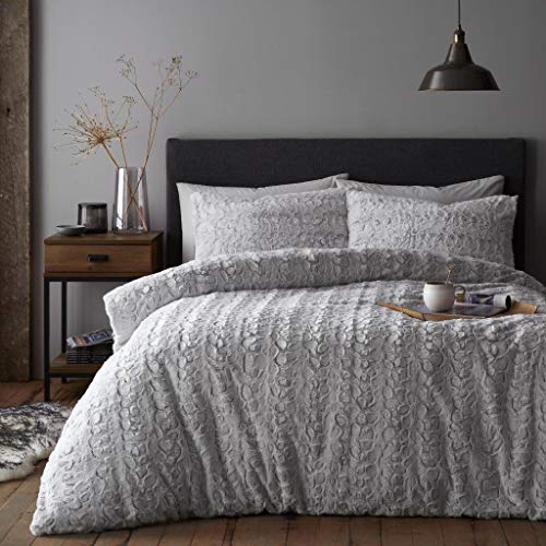 Artistic Fashionista* NEW Soft Warm & Cosy Teddy Bear Faux Fur Fleece LUXE Duvet Quilt Cover Pillowcases Bedding Set (Grey Silver, Double)