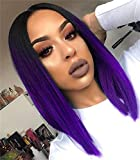 Quick Wig Ombre Wigs Purple Short Straight Bob Wig Black to Purple Middle Part Heat Resistant Fiber Synthetic Cosplay Party Wigs for Women