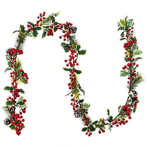 MoonLa 7FT Red Berry Christmas Garland with Pine Cone Needle Garland Christmas Xmas Decorations Indoor Outdoor Garden Gate Home Fireplace Decoration Winter Christmas Holiday New Year Decor