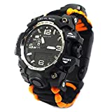 YzoTek 6 in 1 Outdoor Survival Bracelet Watch, Emergency Sports Waterproof Wristband First Aid Tools with Paracord, Compass, Thermometer, Whistle, Fire Starter, Scraper for Camping & Adventure