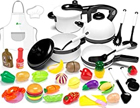 KIDPAR 36Pcs Play Kitchen Set for Kids, Pretend Cooking Kit Including Pots and Pans,Cutting Play Food, Chef's Apron and Other Utensils Accessories, Xmas Gift Toys for Toddlers, Baby, Girls, Boys