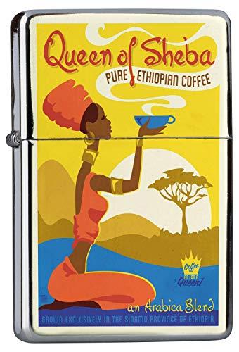 LEotiE SINCE 2004 Chrom Sturm Feuerzeug Benzinfeuerzeug aus Metall Aufladbar Winddicht für Küche Grill Zigaretten Kerzen Bedruckt Kaffee Cafe Bar Äthiopischer Arabica Quenn of Sheba