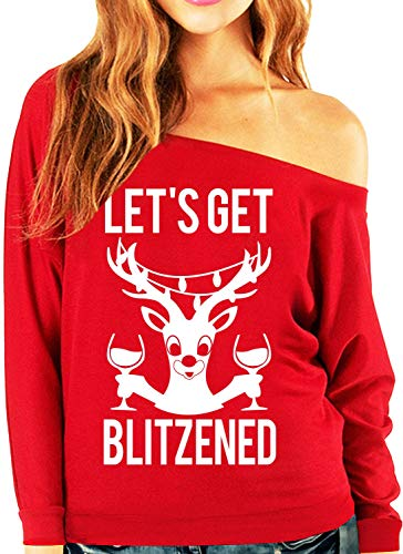 Let's Get Blitzened Red Christmas Slouchy Sweatshirt Wine Version (Small)