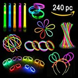 Glow Sticks Party Pack - Glow Stick Party Favors For Kids And Adults - 240 Pieces-Glow Sticks Set Includes Connectors To Create Necklaces, Bracelets, Glasses, Headbands, Balls, Flowers And Much More