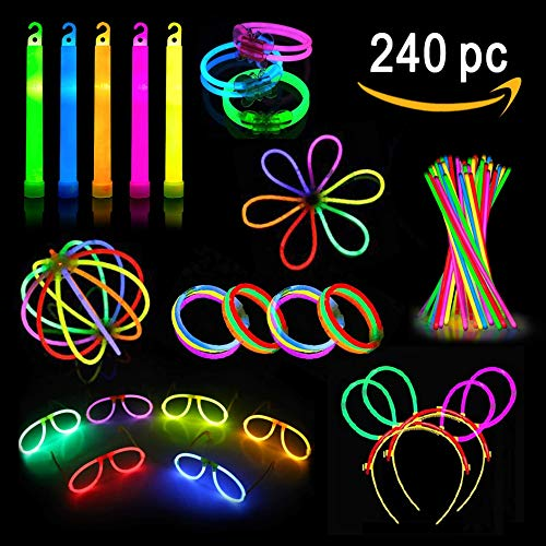 Party Pack Glow Sticks – Camping Glow Activities For Families – Neon Light Sticks Decoration For Party Favors Kids And Adults - 240 Pieces - Includes Connectors To Create Glow In The Dark Necklaces, Bracelets, Glasses, Headbands, Balls, Flowers And Much More