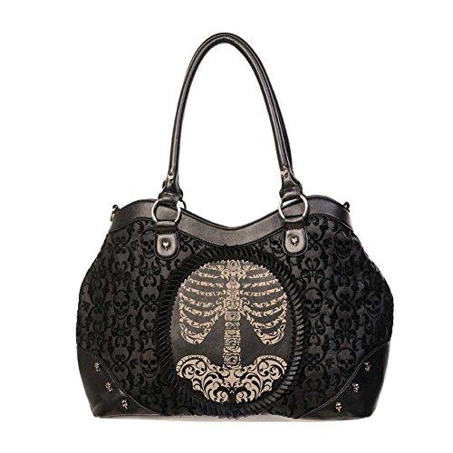 """Banned Rockwear Tartan Handtasche """"Brustkorb Aufdruck -Skelett """" Reisetasche Schultertasche Bügeltasche 100% Kunstleder 23x40x10cm"""