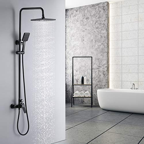 Auralum Regendusche Duschsystem Schwarz Duscharmatur Duschset mit Armatur, 2 Funktion Duschsäule Regenduschset mit Verstellbare Duschstange, 10 Zoll Große Kopfbrause