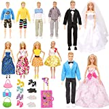 SOTOGO 33 Pieces Doll Clothes and Accessories for 11.5 Inch Girl Boy Doll Wedding Playset Include 12 Sets Doll Groom Suit/Wedding Dress/Casual Wearing Clothes, 8 Pairs Shoes and Doll Accessories