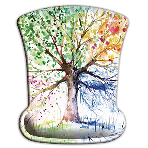 ITNRSIIET Ergonomic Mouse Pad with Memory Foam Wrist Rest Support, Pain Relief, Non-Slip PU Base and Lycra Silky Cloth Surface, Abstract Colorful Tree of Life Oil Paintings Art Creative Design
