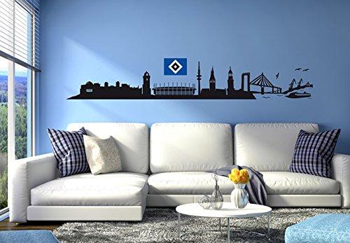 Wandtattoo, Aufkleber - HSV Skyline mit Logo farbig 120x18 cm schwarz - Art. Nr. HSV10011 - Wall-Art