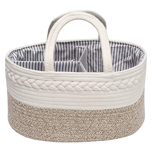 Baby Nappy Caddy Organiser with 3-Compartments, Multifunctional Nappy Diaper Caddy Storage Nursery Bin Basket, Portable Nappy Bags,GrayCoffee
