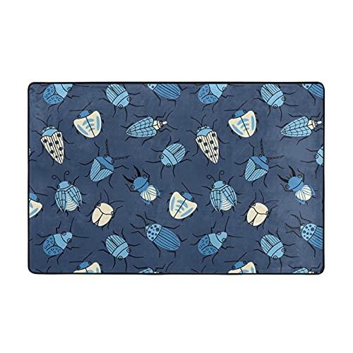 GAHAHA Alfombra de área de insectos azul lavable para pasillos, alfombra de piso grande, antideslizante, transpirable, 60 x 39