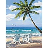 RICUVED DIY 5D Diamond Painting by Number Kit, Full Drill Beautiful Beach Scenery Embroidery Cross Stitch Picture Supplies Arts Craft Wall Sticker Decor 12 x16inch