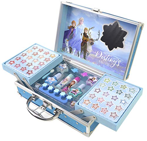 Disney- Frozen II Princess Makeup Traincase, Color azul, Talla Única (Markwins 1599018E)