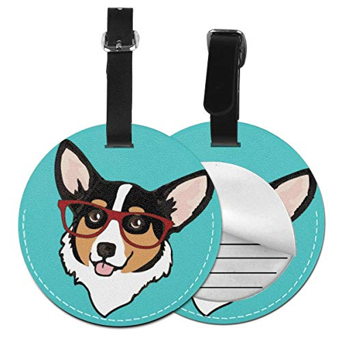 Luggage Tag PU Leather Bag Tag Travel Suitcases ID Identifier Baggage Label Corgi 8