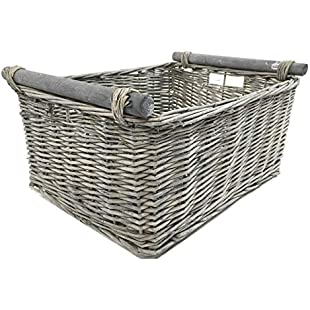 topfurnishing KITCHEN LOG WICKER STORAGE BASKET WITH HANDLES XMAS EMPTY HAMPER BASKET [Grey,X large]:Superclub