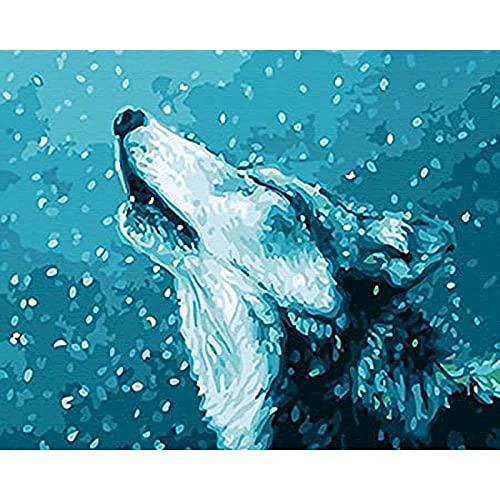 Pintura por número Lone Wolf DIY Juego de Pintura al óleo 40 * 50 CM Lienzo sin Marco decoración del hogar acrílico Pintura de Arte Moderno.