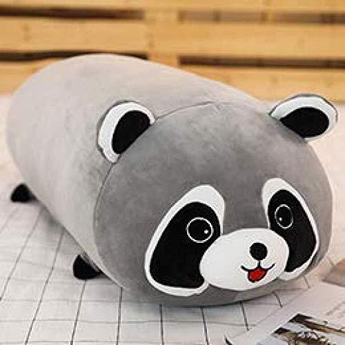 INGFBDS animali cilindrici giocattolo lungo cartone animato imbottito gambe di peluche cuscino panda orso rana ape maiale procione sacco a pelo bambini adulto 80 cm procione