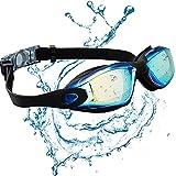 JINPXI Gafas de Natación Antiniebla, Gafas para Nadar Protección UV Lentes HD Silicona Ajustables para Adultos y Niños Color Negro