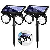Lot de 2 lampes solaires de jardin avec détecteur de mouvement - Applique murale solaire avec double tête - 24 LED - Étanche - Rotatif à 360 °