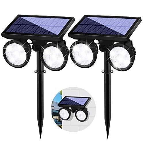 Solarleuchte Garten mit Bewegungsmelder, Solar Wandleuchte mit Dual Head Spots 24 LED Wasserdicht 360° Drehbar Solar Sicherheit Licht für Garten Modern 2 Pack
