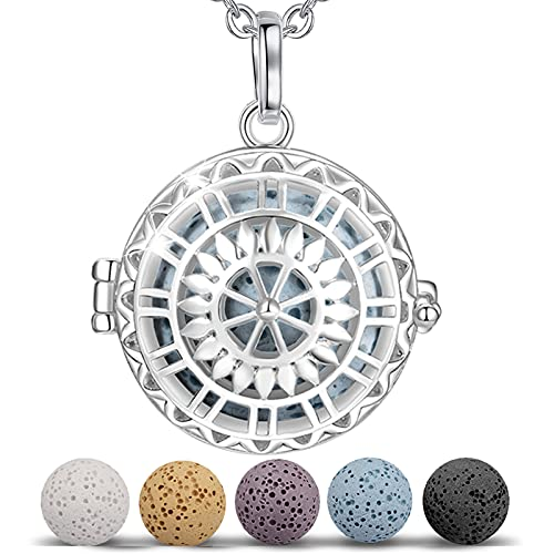 INFUSEU Aromatherapy Necklace, Essential Oil Locket Diffuser Pendant Silver Plated Anxiety Jewellery Necklace for Women with 5 PCS Lava Rock Stones and 24' Link Chain