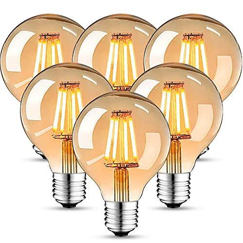 Edison Vintage Glühbirne, Edison LED Lampe Warmweiß E27 4W 2700K Retro Glühbirne Vintage Antike Glühbirne 470 Lumen Ideal für Nostalgie und Retro Beleuchtung im Familie Hotel Bar usw - 6 Stück