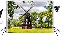 新しいオランダの風車の写真の背景7x5FT春の風景屋外の緑の草原の背景大人と子供の写真の背景FT013