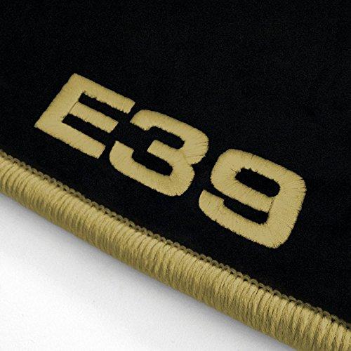 Autoteppich Stylers ATS-Q300_E39-307 Passform Velours-Fußmatten mit Bestickung E39 und Rand in Mittelbeige