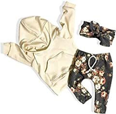 ❀[Material]: Made of cotton fabric, comfortable and warm. Perfect fall, winter and spring toddler and infant baby girl clothes. ❀[Cute Style]: Adorable baby girl floral long sleeve hoodie + pant s+ headband. ❀[Sizing]: This baby girl outfit set suita...