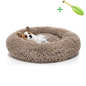 CXLY Cama Redonda para Mascotas, Suave, Lavable, autocalentante, calmante, Cama para Perro, Cama Redonda para Perro, cómoda para Dormir en Invierno, café, 100 cm