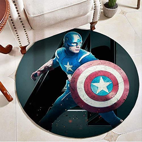 N A Avengers Marvel Helden Runder Teppich Iron Man Spider-Man Schlafzimmer Computer Drehstuhl Hängende Korbmatte a 80cm im Durchmesser