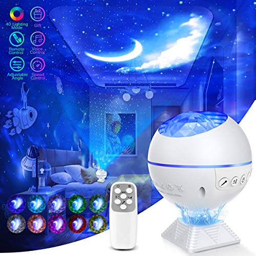 Galaxy Projector Star Projector Galaxy Night Light Projector for Bedroom 40 Colors Mode Galaxy 360 Pro Projector Ocean Galaxy Light Ceiling Star Light with Remote Voice Control Gift for Mom Kids Adult
