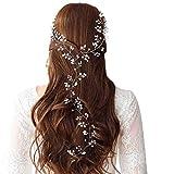 Dusenly Diadema de boda vintage para novia, con perlas de cristal, para el pelo, 50,8 cm