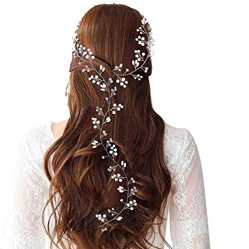 Dusenly Diadema de boda vintage diadema nupcial Crystal Pearl Vine Hairbands Hair...