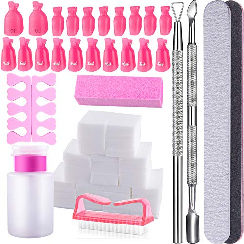 SIQUK Nail Polish Remover Kit with Finger Toe Nail Clips, Wipe Cotton Pads, Nail Files Buffer Block, Triangle Cuticle Peeler, Cuticle Pusher, Toe Separator, Nail Brush and Push Down Dispenser Bottle