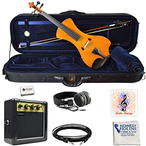 Electric Violin Bunnel NEXT Clearance Outfit 4/4 Full Size (HONEY)- Carrying Case and Accessories Included - Headphone Jack - Highest Quality with Piezo ceramic pick-up By Kennedy Violins