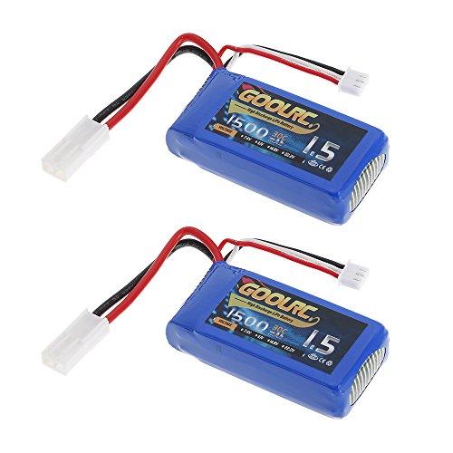 GoolRC 2pcs 7.4V 1500mAh 30C Mini Tamiya Plug LiPo Battery for Feilun FT009 GC001 RC Boat