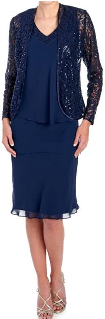 S.L. Fashions Women's San Francisco Mall 1 year warranty Sequined Lace Dress Jacket