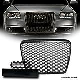 VXMOTOR for 2008-2011 Audi A6/S6 C6 Facelift - Matte Black Euro RS Sport Honeycomb Mesh Front Hood Bumper Grill Grille Cover + Logo Base
